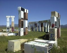 Fridgehenge :  another modern take on Stonehenge exists outside of Sante Fe, New Mexico, constructed out of junked refrigerators, known as 'Fridgehenge'. The site was created by the artist Adam Jonas Horowitz. The site no longer exists, all fridges have been removed after a complaint,