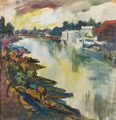 S.H. Raza (1922-) - Kashmir Valley, 1950