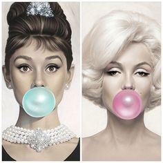 Bubblegum blue & pink Audrey Hepburn & Marilyn Monroe canvas .xx