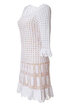 Crochetemoda: Vestido Branco de Crochet Alberta Ferretti