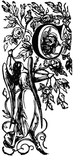 Decorative Letter C with Angel Holding Vine