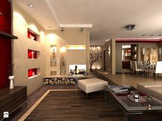 Średni salon z kuchnią z jadalnią, styl nowoczesny - zdjęcie od…