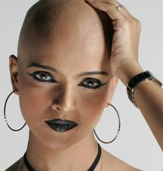 Attractive women look their best with their eyebrows shaved off, and head shaved smoothly bald. Ladies Shave Your Head! Real Beauty, Hair Beauty, Bald Look, Glenda, Shaving Your Head, Bald Girl, Bald Women, Bald Heads, Hair Tattoos