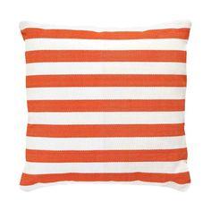 Discover the Dash & Albert Trimaran Stripe Cushion - Tangerine/White at Amara