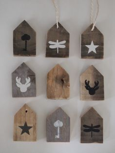 wood gift tags / tree decorations from holland Scrap Wood Crafts, Diy And Crafts, Christmas Crafts, Christmas Decorations, Christmas Ornaments, Tree Decorations, Xmas, Wood Projects, Projects To Try