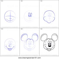 How to Draw Mickey Mouse Face from Mickey Mouse Clubhouse Printable Drawing Sheet by DrawingTutorials101.com