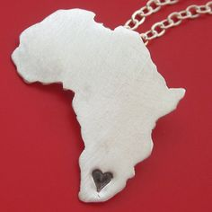 Lyons mack Africa Necklace by sudlow on Etsy Africa Map, Out Of Africa, South Africa, Africa Necklace, Map Necklace, Expensive Clothes, Hobbies And Crafts, Necklace Designs, African Fashion