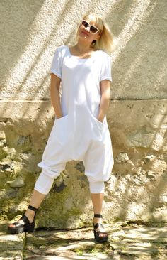 NEW COLLECTION! White loose jersey cotton jumpsuit. Woman oversize jumpsuit. White romper. Two pockets! Loose boho jumpsuit, loose summer