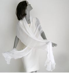 Natural White Wedding Silk Chiffon Shawl Wrap Formal by artinsilk, $68.80