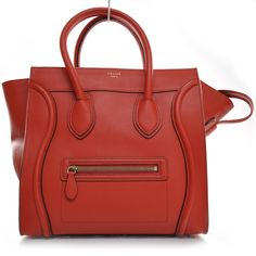 Drool... CELINE Pebbled Leather Mini Luggage Bag Coquelicot Red