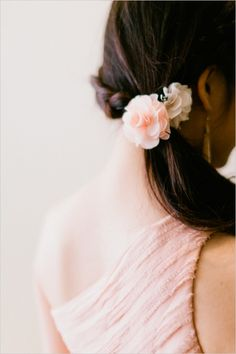 Pink Weddings I Blush pink bridesmaids dress and a simple flower in the hair