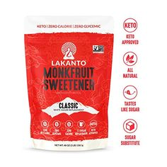 Lakanto Monkfruit Sweetener, Sugar Substitute, Keto, Non-GMO (Classic White - 3 lbs) Cure Diabetes Naturally, Smoothie Prep, Sugar Substitute, Coconut Macaroons, Fruit Smoothies, Vegan Smoothies, Gourmet Recipes, The Cure, Classic White