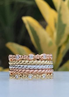 Fun, fashionable stacking rings to personalize your look. Wear as unique wedding ring or to add a touch of glamour to your look. Mix the color of metal to create that perfect stackable ring collection look that is you. Stackable Diamond Rings, Stacking Rings, Wedding Rings, Glamour, Touch, Engagement Rings, Create, Metal, Unique
