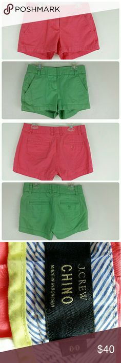 J. Crew Chino Shorts Set of 2 Two pairs of J. Crew Chino shorts, size 00. One green, one pink. 100% cotton. J. Crew Shorts Jean Shorts