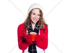 smiling young woman with a cup of coffee. - Portrait of a smiling young woman with a cup of coffee, Model: Brittany Beaudoin