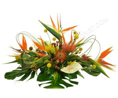 This centerpiece filled with tropicals is sure to catch anyone's eye