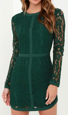 Sweet as Sugar Dark Green Long Sleeve Lace Dress. I need this                                                                                                                                                      More