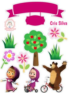 Masha And The Bear, Ideas Para Fiestas, Cake Toppers, Personalized Gifts, Badge, Alice, Scrap, Birthday Parties, Paper Crafts
