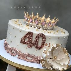 Queen Birthday Cake With Name For Girls Queens Birthday Cake, 40th Birthday Cake For Women, Girly Birthday Cakes, 40th Cake, 40th Birthday Decorations, Beautiful Birthday Cakes, Queen Birthday, 40th Birthday Parties, Birthday Cakes For Adults