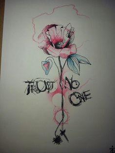 Trust no one  #tasteofink #tattooart #tatuaggio #flower #rose #rosa #poppy #petaloso #papavero #tattoo #blotch #blotchtattoo #flower #color #decristofarovincenzo
