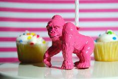 Pink Gorilla Birthday Candle Holder by TonysDinostore on Etsy