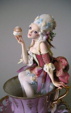 Rococo Tea Time by Nicole West. OOAK Doll. Marie Antoinette look. Eatting cake in a teacup.