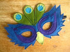 Felt Peacock mask by littlebitdesignshop on Etsy, $18.00, kids costume, animal mask
