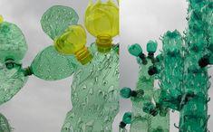 Detalles de cactus hechos con botellas de plástico recicladas
