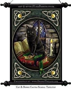 Cat & Books art © Lisa Parker (Artist, UK) http://LisaParker.co.uk  Canvas Wall Scroll Tapestry exclusively at: Design Toscano. Halloween image. [Do not remove caption. The law requires you to credit the artist. List/Link directly to artist website.]  PINTEREST on copyright:  http://www.pinterest.com/pin/86975836526856892/  HOW TO FIND an image's original artist & website: http://www.pinterest.com/pin/86975836525507659/