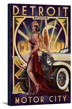 Canvas (Detroit, Michigan - Deco Woman & Car - Lantern Press Artwork)