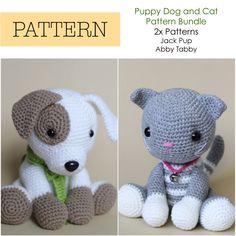 Crochet Amigurumi Cat and Dog, PATTERNS ONLY Bundle, Special Offer, Stuffed Toy Pattern by HelloYellowYarn on Etsy https://www.etsy.com/listing/473703719/crochet-amigurumi-cat-and-dog-patterns
