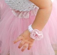 Infant Crochet Cuff Bracelet/ Pink Flower and by breathofanangel, $25.00