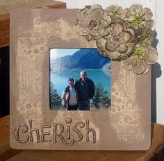 Frame with flowers and die cut letters