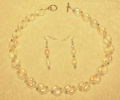 Cultured Freshwater Pearl White & Swarovski Crystal Light Grey OP AB Necklace   #LittlePearlShop
