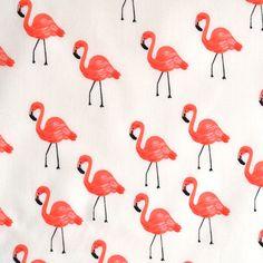 Les Fleurs Flamingos Lawn Ivory - Fabric - Style Maker Fabrics