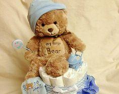Bébé garçon couche-culotte gâteau trois couche par InspiredbyElena