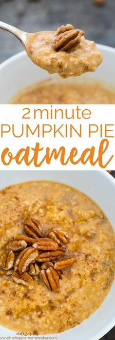 2 Minute Pumpkin Pie Oatmeal Fast and easy 2 minute Pumpkin Pie Oatmeal is a healthy and delicious way to start your morning!Fast and easy 2 minute Pumpkin Pie Oatmeal is a healthy and delicious way to start your morning! Oatmeal Recipes, Pumpkin Recipes, Fall Recipes, Whole Food Recipes, Cooking Recipes, Healthy Recipes, Cooking Fish, Pumpkin Ideas, Pudding Recipes