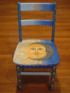 Hand painted celestial chair