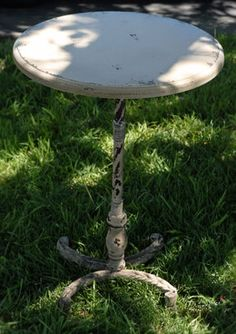"""64.99 SALE PRICE! This 26"""" Metal Accent Pedestal table has a shabby chic look. It has a 18"""" wide top and is 26"""" tall. The table top is 7/8&quo..."""