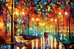 Rain's Rustle II by Leonid Afremov is printed with premium inks for brilliant color and then hand-stretched over museum quality stretcher bars. 60-Day Money Back Guarantee AND Free Return Shipping.
