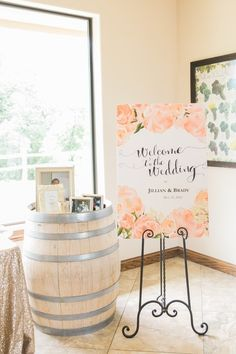 Elegant wedding sign - white + peach wedding sign with floral motif and modern calligraphy {Tracy Autem & Lightly Photography}