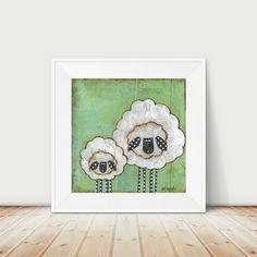 Whimsical Sheep Art print. Sheep folk art. Nursery Decor. Mama and Baby. Mixed…