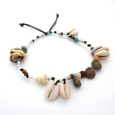 treasure chest - a gorgeous array of sterling silver, bone, natural shells, turquoise and czech glass on black cord  - one size fits most