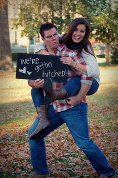 Country Engagement Photos so VERY adorable. Taking a pic like this! Funny Engagement Photos, Engagement Humor, Engagement Couple, Engagement Shoots, Engagement Photography, Wedding Engagement, Wedding Photography, Engagement Photo Props, Country Engagement Photos