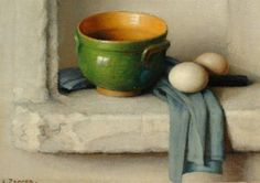 Charles Perron, Still life with a green bowl and eggs on a ledge