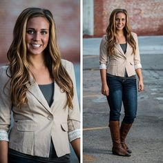 Mix a little business with pleasure in this short crop-top jacket with faux roll-up sleeves. S.M.L $36