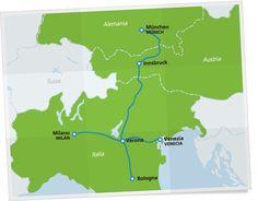 Mapa con las rutas panorámicas de los Alpes