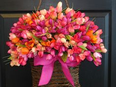 spring wreath Easter wreaths wreath front door wreath decorations,pink, multicolor tulips spring wreath on Etsy, $129.00