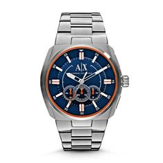 Active Featuring a stainless steel bracelet and case, a blue dial and bright orange accents, Clutch by Armani Exchange conveys sleek, sophisticated style.