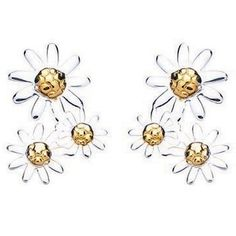 Daisy Jewellery Silver Gold Plated 3x Daisy Drop Studs E4019G-P  £39.00